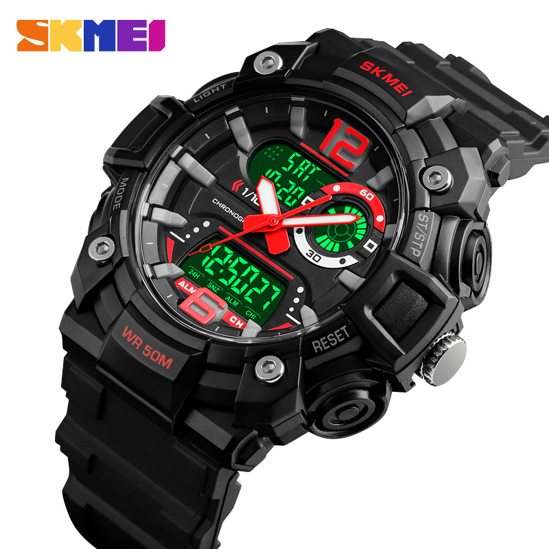 SKMEI Outdoor Sport Watch Men Multifunction 5Bar Waterproof LED Display Watches Luminous Chrono Digital 3Time Watch Reloj Hombre