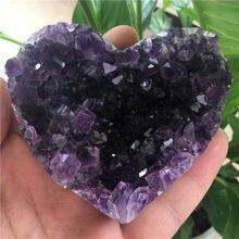 Doğal kalp şekli Uruguay ametist küme kuvars kristal şifa numune