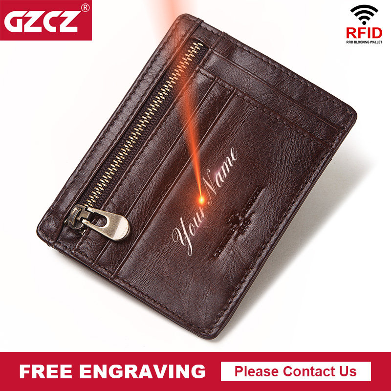 GZCZ Genuine Cow Leather Men Durable Slim Simple Card Holder Causal Travel Bank Business ID Card Wallet Holder Case With Coin Purse