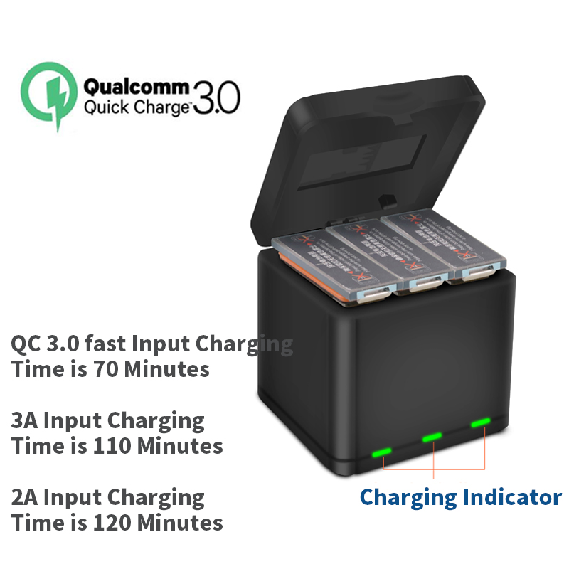 YX QC3.0 Fast Charging One For Three Charger Storage Type Charging Box For DJI OSMO ACTION Sports Camera Lithium Battery