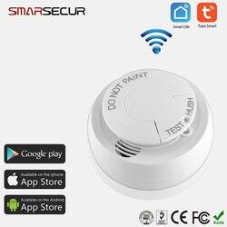 Tuya/vida inteligente app wi fi detector de fumaça inteligente sensor de alarme incêndio sistema de segurança em casa inteligente sem fio