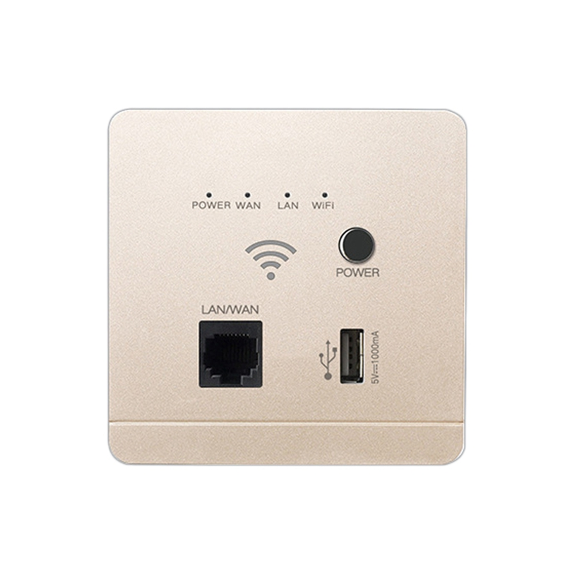 86mm 300Mbps Wall Router with USB Socket Smart Wifi Repeater Extender Wall Embedded 2.4Ghz Router Panel