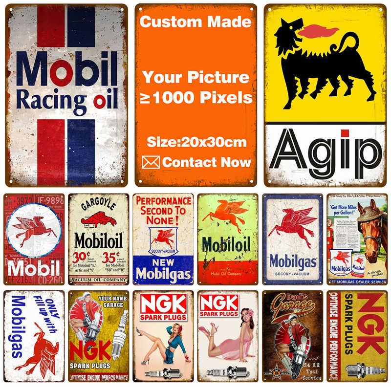 Benutzerdefinierte Mobil Agip NGK Pub Bar Dekoration Zinn Zeichen Shabby Chic Home Decor Plaque Metall Zeichen Wand Poster Vintage Decor kunst Vintage