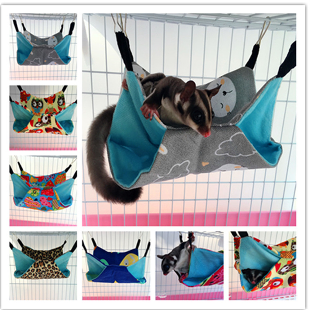 Two Floor Canvas Hammock for Hamster Sugar Glider Squirrel Small Animals Pets Sleeping Nest Soft Comfortable Hanging Bed House
