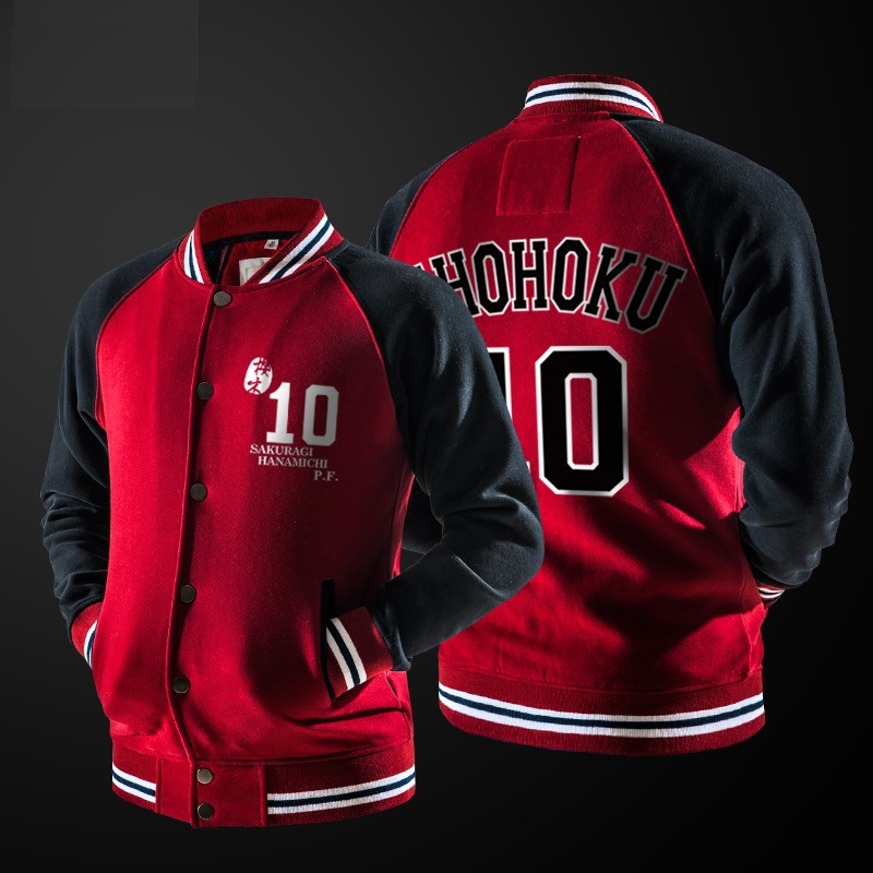 Anime Suramu Danku Shohoku Basketball Team Cosplay Jacket Hanamichi Sakuragi Fleece Coat Casual Baseball Jackets Sweatshirts