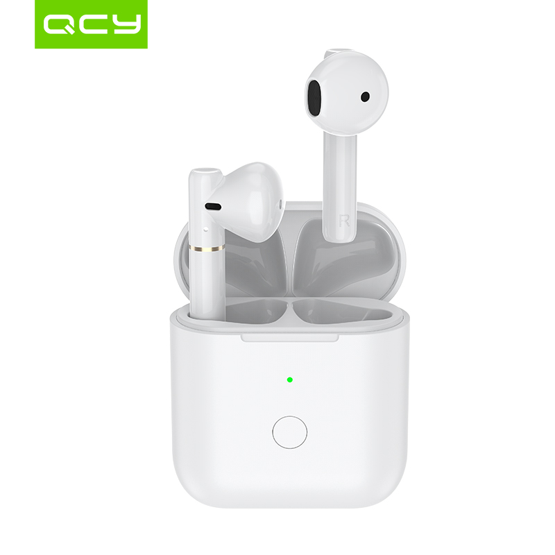 QCY T8earphones                                                                                     Semi-in-ear bluetooth oortelefoon app headphones control with charge case