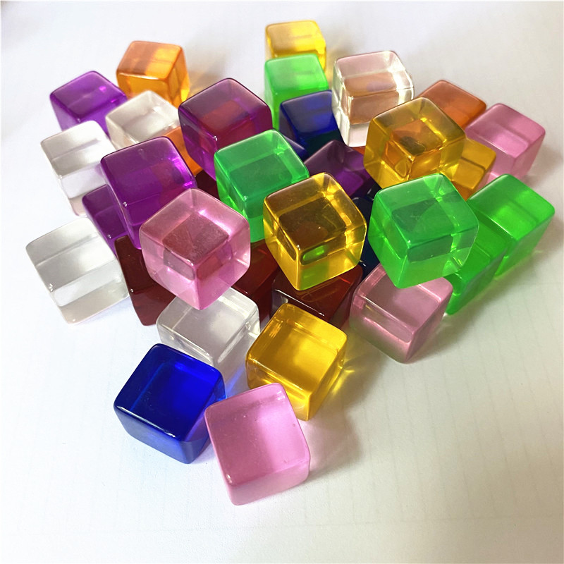 10Pcs/set <font><b>16mm</b></font> Transparent Square Corner <font><b>Blank</b></font> <font><b>Dice</b></font> For Board Games Chess Piece Transparent Right Angle Sieve 7 colors image