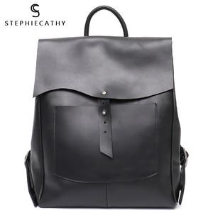 Image 1 - SC Women Italian Leather Backpack Vintage Retro Style Flap Buckle Large Shoulder Bags School Life Travel Holiday Knapsacks
