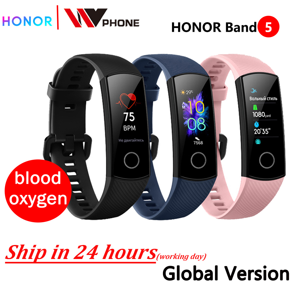 global version Honor band 5 smart band AMOLED heart rate fitness sleep swimming sport blood oxygen tracker image