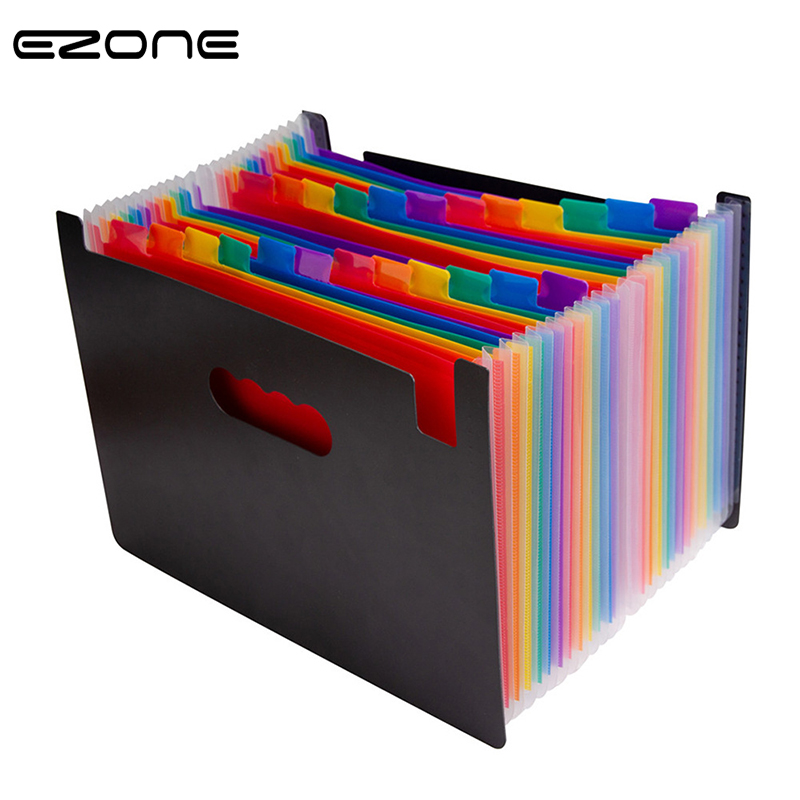 EZONE 24 Pocket Folder Expanding Wallet File Storage Bag Colorful Inner Page School Teacher Office Paper File Bag Large Capacity