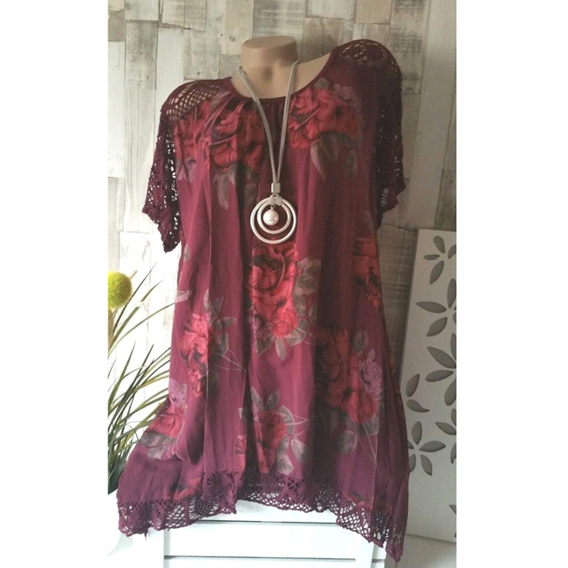 2021 new Women's Fashion Oversize Lace Floral Print Short Sleeve Casual Asymmetrical A Line Cotton Tunic S-5XL 4