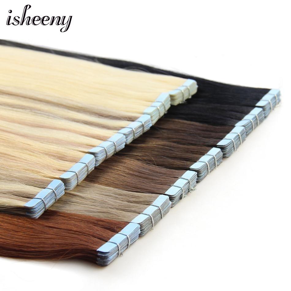 "Isheeny Human Hair Tape Extensions European Natural Seamless Skin Weft 12""-22"" Black Brown Blonde 100% Virgin Remy Hair 20 Pcs"