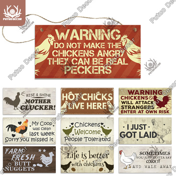 Putuo Decor Chicken Farm Wooden Signs Decorative Plaques for Wall House Coop Decoration - discount item  40% OFF Home Decor