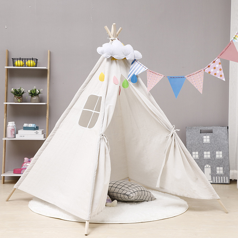 10 Types Tipi Baby Tent Child Teepee Toys For Girls Wigwam Cotton Canvas Teepee Children Tipi Play House Large Kids Tent 1.35M(China)