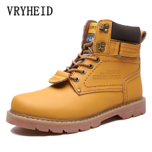 лучшая цена VRYHEID New winter Warm Men boots Genuine Leather Waterproof snow boots Ankle boots Tooling Shoes Men Women boots Big Size 35-46