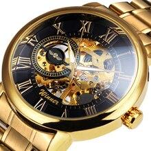 Gagnant officiel haut marque de luxe doré montre bracelet mécanique hommes bracelet en métal squelette cadran affaires classique mâle relogio