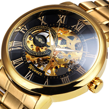 WINNER Official Brand Retro Gold Watch Mechanical Watches for Men Stainless Steel Strap Skeleton Dial Roman Numeral Wrist Watch