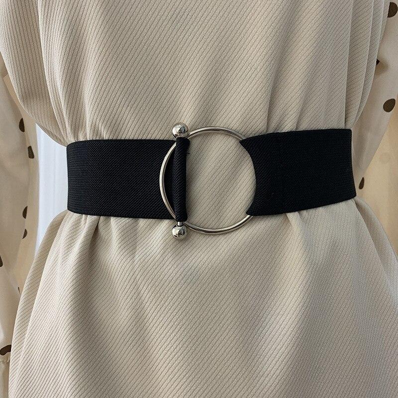 Belts For Women Black Simple Waist Elastic Ladies Band Round Buckle Decoration Coat Sweater Fashion Dress Rice White -8