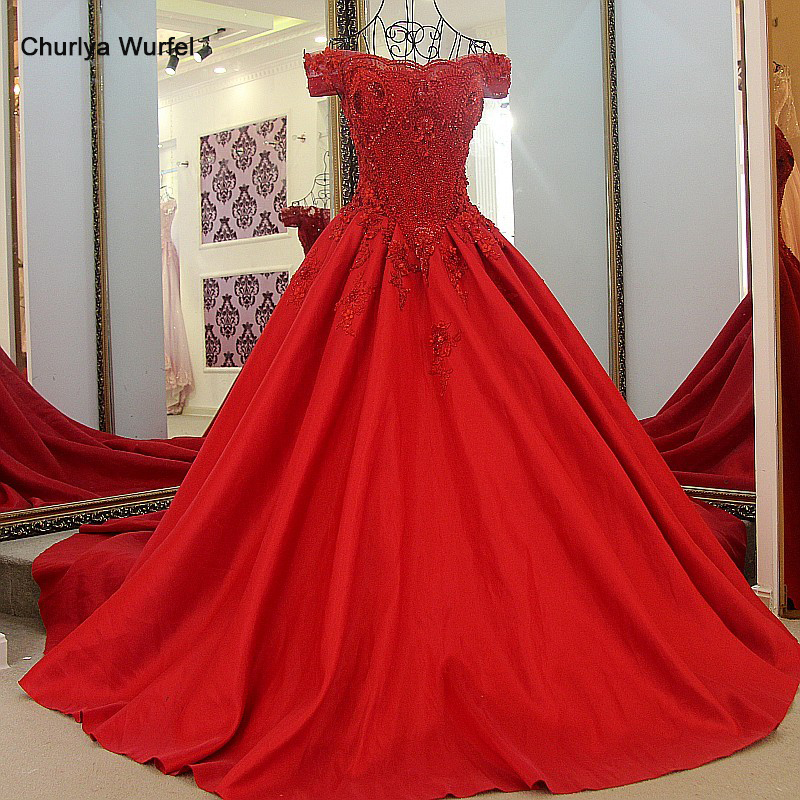LS6229 Abendkleider 2016 Kristall Luxury Beaded Pearls Off The Shoulder Corset Back Ball Gown Satin Red Evening Gowns Long