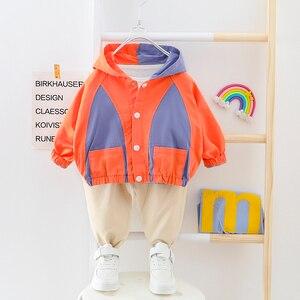 Image 3 - Vestiti del ragazzo Patchwork Vestito Del Bambino Con Cappuccio Cardigan Coat + Pants 2 pezzi/set Bottoni Bambini Outwear Abbigliamento 2 3 4 Anni
