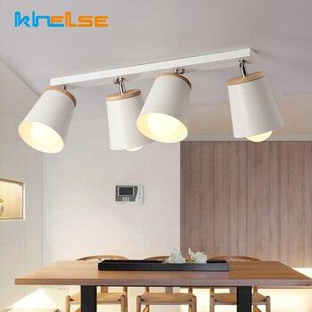 Modern White Ceiling Lights 1/2/3/4heads Adjustable Metal Ceiling Lamp Luminaire Corridor E27 Indoor Home Lighting Wood Fixtures