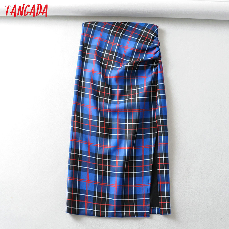 Tangada Fashion Women Vintage Plaid Pattern Skirt Pleated Elegant Zipper Ladies Skirt Mujer Retro Mid Calf Skirts 6A122
