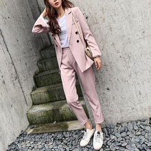 Casual Double-breasted Striped Women Blazer Suit Set Long Sl