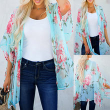 JAYCOSIN 2019 New Cardigan Womens Middle Sleeve Chiffon Print Sandy Beach Cardigan Smock Easy Blouse Tops Bloues 19July26(China)