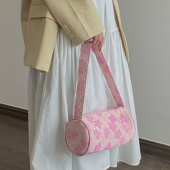 Cool Girls Round Underarm Bag Cute Flower Women Small Shoulder Bucket Bags Vintage Design Ladies Handbags Evening Clutch Purse