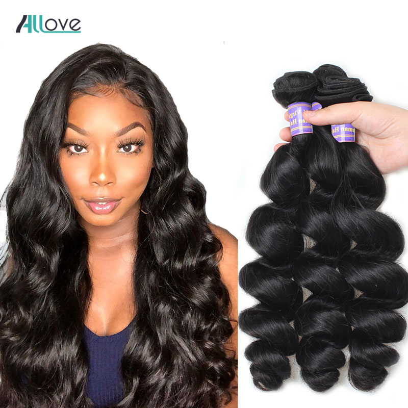 Allove Loose Wave Hair Bundles Indian Hair Bundles 100% Human Hair Extensions Non-Remy Hair Loose Wave Human Hair 3 Bundles