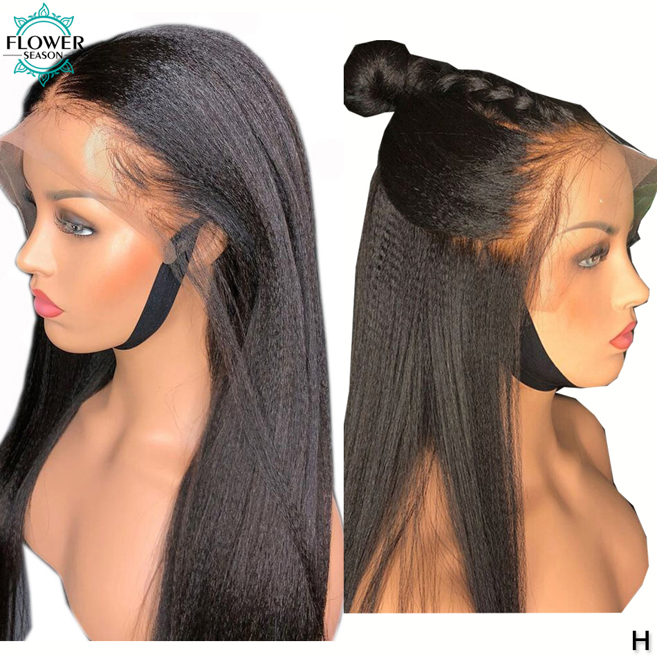 5x4.5 Silk Top Yaki Straight Lace Front Wig Pre Plucked Remy Peruvian Silk Base Full Lace Human Hair Wigs 130% FlowerSeason