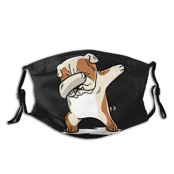 Dabbing Bulldog Funny Non Disposable Mouth Face Mask with filters Anti Haze Dustproof Earloop Protection Cover Muffle Men Women недорого