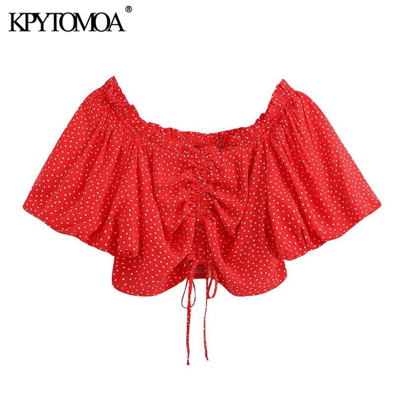 KPYTOMOA Women 2020 Sweet Fashion Polka Dot Cropped Blouses Vintage Puff Sleeve Adjustable Drawstrings Female Shirts Chic Tops