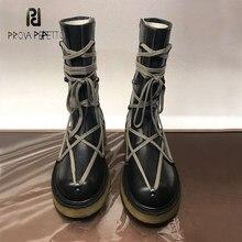 Prova perfetto 2020 nova personalidade de alta qualidade rendas martin botas femininas estilo britânico moda zíper botas curtas botas passarela