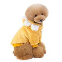Christmas Sunflower Shape Soft Fleece Dog Clothes Pet Dress Pattern Coral Velvet Deer Puppy Coat Two Legs Clothing For
