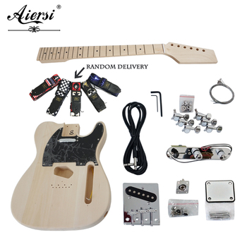 Aiersi solid wood Tele Style Diy Electric Guitar Kit TL unfinished guitar set Model EK-002 tl style electric guitar diy kit map pattern veneer a grade beechwood body hard maple neck rosewood fingerboard set