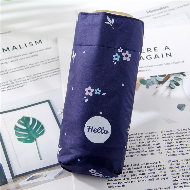 Hipster Printed Letter Creative Folding Umbrella Mini Ultra-Light Five-fold Umbrella Vinyl Strong Sun-resistant Slimming Sun All