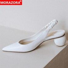 MORAZORA 2020 New arrival slingback pumps women shoes genuin