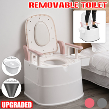 New Upgrade Portable Toilet Elderly Toilet Stool/ Assists Pregnant or Disabled Elderly Movable Toilet Potty for Travel Camping