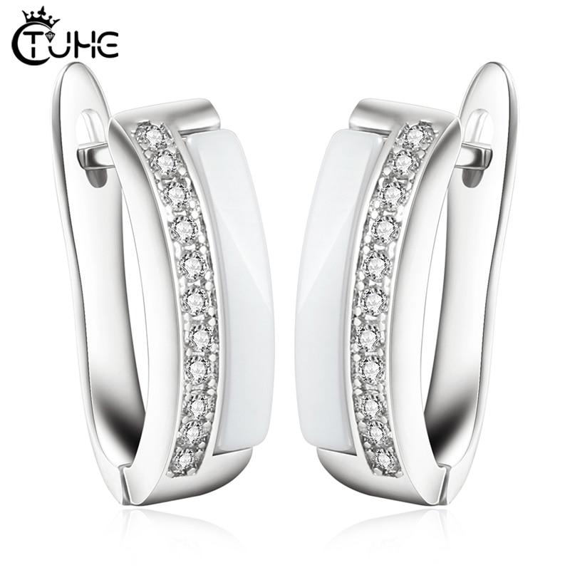 Une rangée AAA CZ élément boucles doreilles pour les femmes U forme saine en céramique boucles doreilles bijoux en gros bijoux