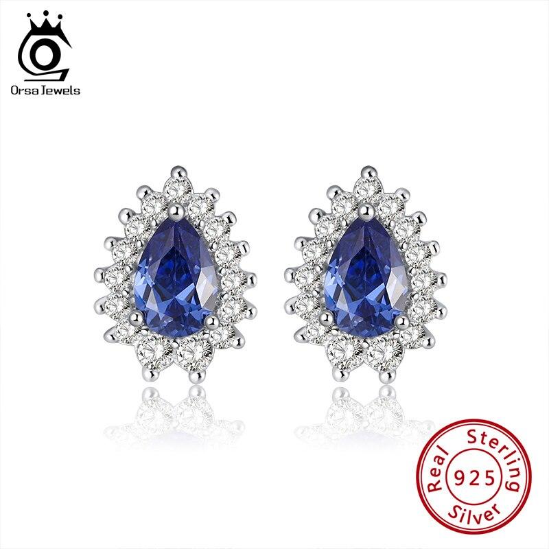ORSA JEWELS Romantic Earrings Stud Blue Water Drop Shape Cubic Zircon S925 Silver Anniversary Party Cute Earrings Jewelry SE253