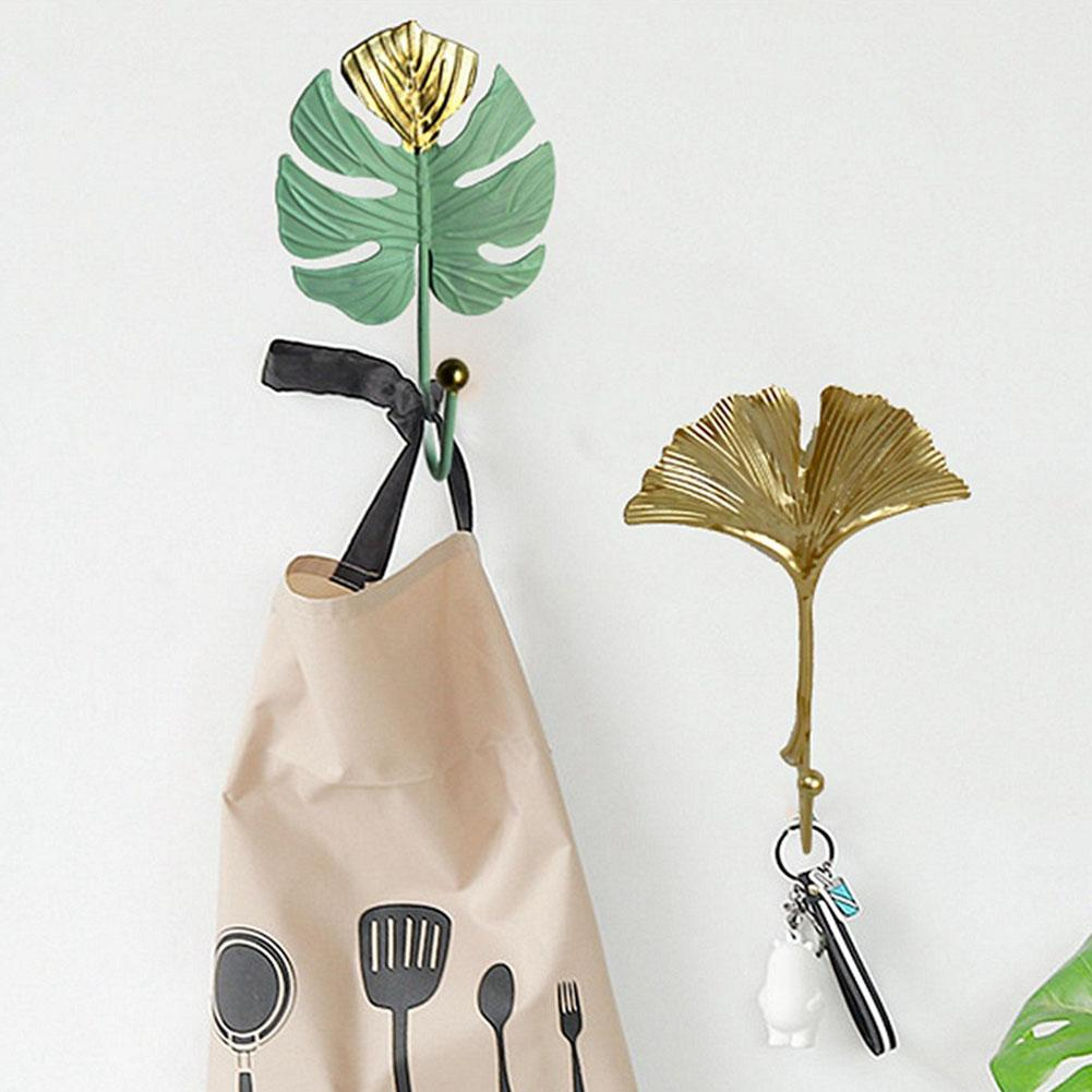 Metal Iron Leaf Shape Hook Door Wall Wardrobe Clothes Bag Key Scarf Hanger Creative Mini Hook Hanging Single Coat Hook Decor