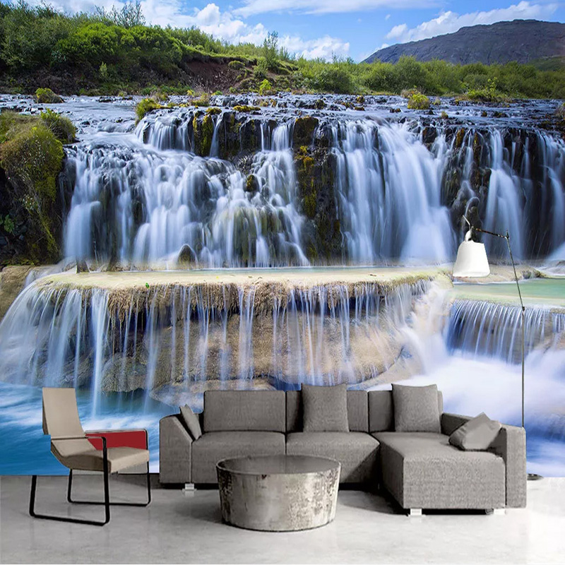 Custom 3D Wall Mural Classic Style Waterfalls Forest Landscape Photo Wallpaper Living Room TV Sofa Background Wall Decor Fresco