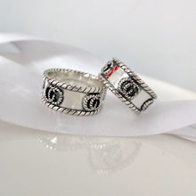 New Ag925 sterling silver European and American retro double G twine ring charm fashion men and women couple holiday gifts