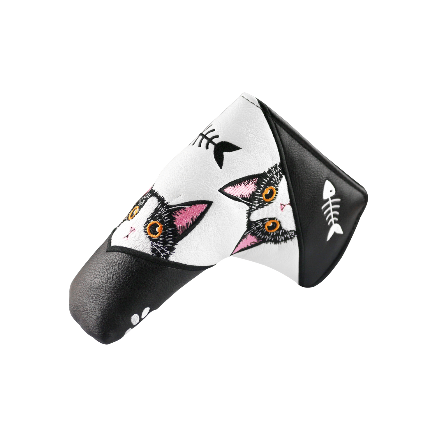 PINMEI Golf Blade Putter Covers Golf Club Headcover Embroidered Flannel Lining Soft PU Leather Magnetic Closure Golf Head Covers