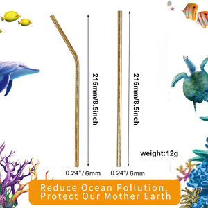 Image 5 - 100 Pcs Patterned Wholesale Metal Straw Colorful Reusable Stainless Steel Straw E co Friendly Portable Drinking Tubes For 20/30