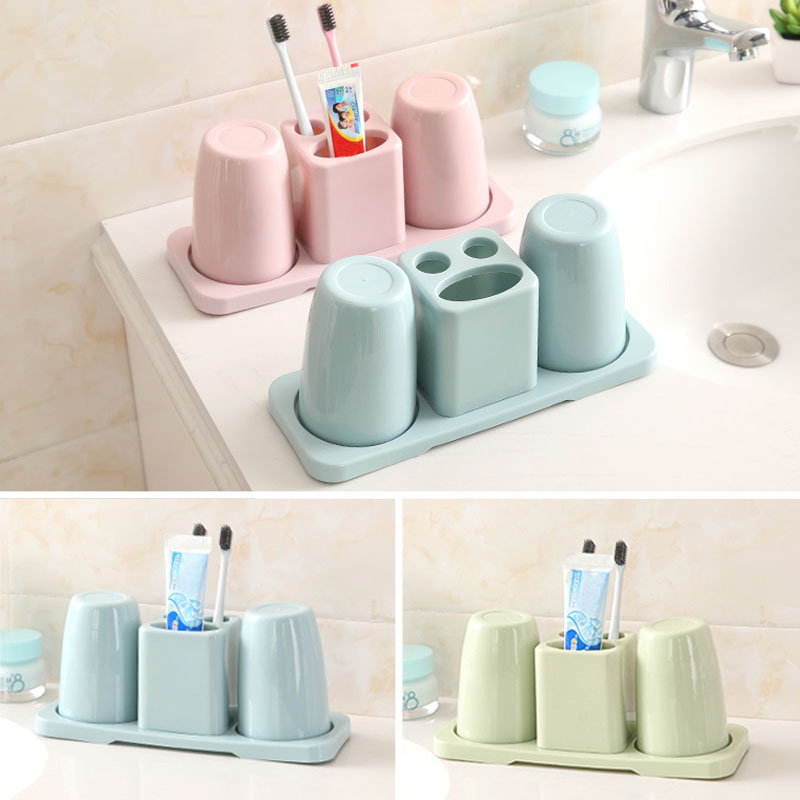 Creative compartment couple toothpaste holder double cup toothbrush holder bathroom wash set toothbrush holder bathroom rack image
