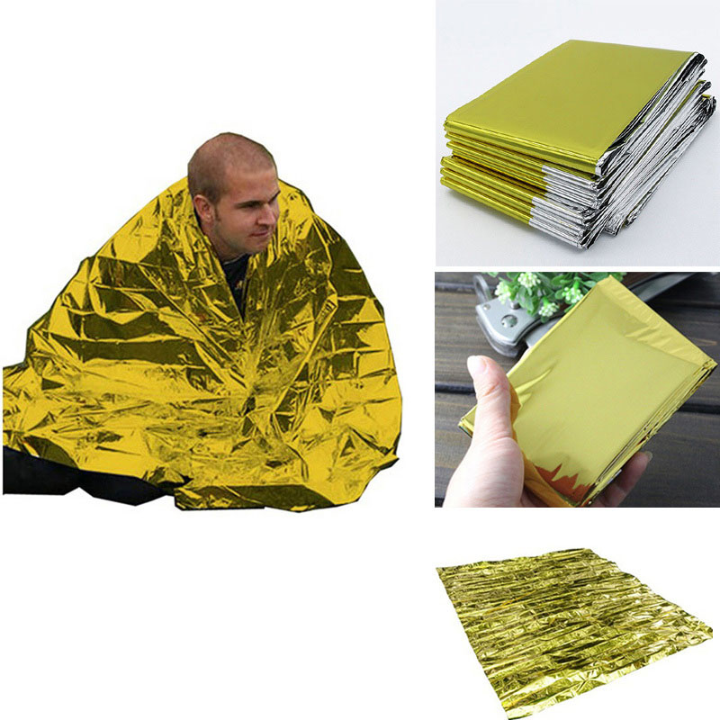 Outdoor Camping Emergency Thermal Blanket Folding Reflective Sunshade Reusable Poncho Canopy Mat Pad Car Cover