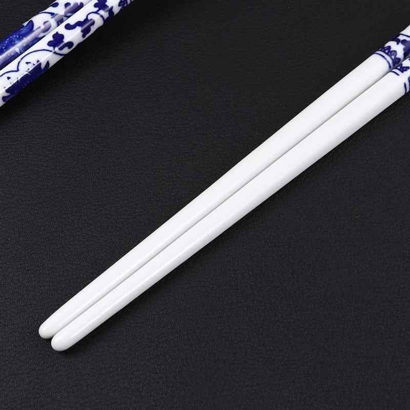 5 Pairs Blue and White Porcelain Chopsticks Ceramic Long Chopsticks Chinese Tableware for Home Restaurant Random Pattern