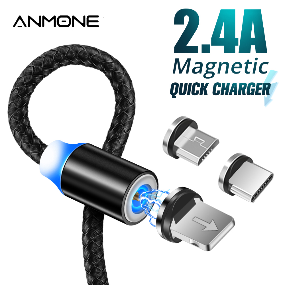 ANMONE Magnetic <font><b>Cable</b></font> Micro <font><b>USB</b></font> Type C Magnetic Charge Charger <font><b>Cable</b></font> for iPhone Huawei Samsung Android Mobile Phone 2m <font><b>cable</b></font> image